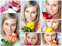 Collage of  a woman with several type of flowers Royalty Free Stock Photos