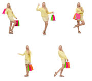 The collage of woman with shopping bags Stock Image