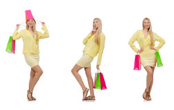 The collage of woman with shopping bags Royalty Free Stock Photography