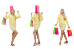 Collage of woman with shopping bags Stock Photos
