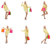 Collage of woman with shopping bags Royalty Free Stock Photos