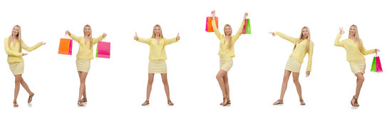 Collage of woman with shopping bags Stock Image