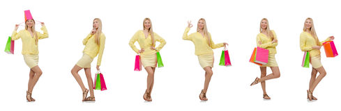 The collage of woman with shopping bags Stock Photography