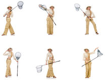 The collage of woman with shopping bags. Woman with catching net on white Royalty Free Stock Images