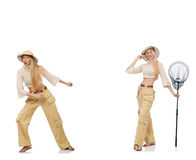 The collage of woman with shopping bags. Woman with catching net on white Royalty Free Stock Photos