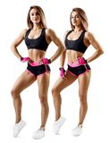Collage of woman in sportswear demonstrated her muscular athletic body. stock photos