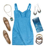 Collage of woman summer clothes and accessories isolated on white. Background Royalty Free Stock Photography