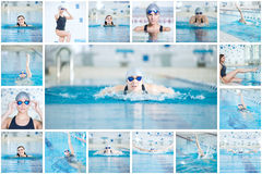 Collage of woman swimming in the indoor pool. Collage of young sport woman swimming in the blue water indoor race pool Royalty Free Stock Photography