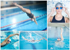 Collage of woman swimming in the indoor pool. Collage of young sport woman swimming in the blue water indoor race pool Royalty Free Stock Photo