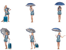 The collage of woman with umbrella and suitcase Royalty Free Stock Photography