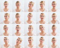 Collage Of Woman With Various Expressions. Collage of young woman with various expressions over white background Royalty Free Stock Photos