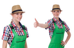 The collage of woman wearing green coveralls isolated on white. Collage of woman wearing green coveralls isolated on white Royalty Free Stock Photo