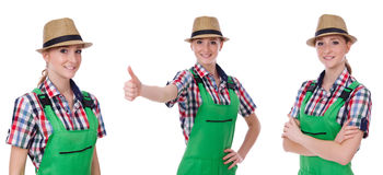 The collage of woman wearing green coveralls isolated on white. Collage of woman wearing green coveralls isolated on white Stock Photo