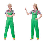The collage of woman wearing green coveralls isolated on white. Collage of woman wearing green coveralls isolated on white Royalty Free Stock Images
