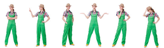 The collage of woman wearing green coveralls isolated on white Stock Images