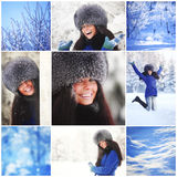 Collage woman in winter park Stock Images