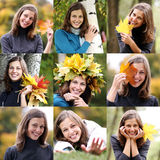Collage, women with a bouquet of maple leaves Royalty Free Stock Photography