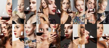 Collage of women drink wine. girls with alcohol stock photos
