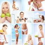 A collage about about women and nutrition Royalty Free Stock Images