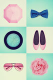Collage of women's clothing, vintage effect Royalty Free Stock Photo