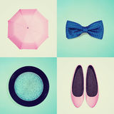 Collage of women's clothing vintage effect Stock Photo