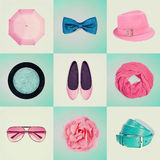Collage of women's clothing vintage effect Stock Images