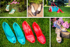 Collage of women's shoes, shoe ads, shopping Royalty Free Stock Images