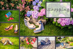 Collage of women's shoes, shoe ads, shopping Stock Photography