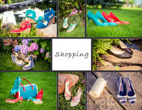 Collage of women's shoes, shoe ads, shopping Stock Images