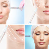 A collage of women and syringes Royalty Free Stock Photos