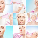 A collage of women and syringes stock images
