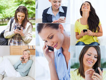 Collage of women using their cell phone Stock Photography