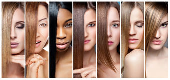 Collage of women with various hair color, skin tone and complexion. Portrait collage of women with various hair color skin tone and complexion stock images