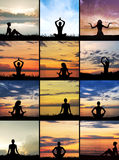 Collage of womes meditating on different backgrounds Stock Images
