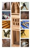 Carpentry and cabinetmaking. Collage about the wood of carpentry and cabinetmaking Royalty Free Stock Image