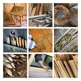 Collage of wood and joinery. Wood and tools on a joinery collage Stock Images