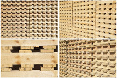 Collage wood pallets piles shipping delivery isolated images Royalty Free Stock Images