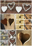 Collage with wooden hearts Stock Photos