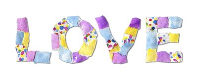 Collage word love made of paper. Collage word love made of watercolor paper with spots on white background with shadow. Abstract grotesque font. Handmade vector illustration