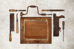 Collage work wood tools carpenter forming a frame Stock Image