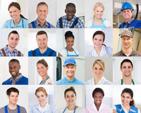 Collage Of Worker stock image