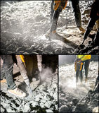 Collage of works with jackhammer Stock Photo