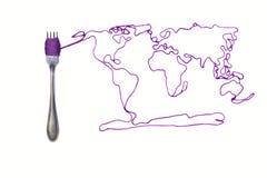 World on the fork 2 Stock Photos