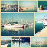 Collage with yachts, boats, lighthouse and a coast. Nautical concept Stock Image