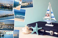 Collage with yachts, boats, lighthouse and a coast. Nautical concept Royalty Free Stock Photo