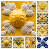 Collection of yellow patterns tiles with relief. Collage of yellow tiles with relief as a background from Portugal royalty free stock image