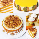 Collage yellow white cakes Stock Images