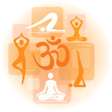 Collage of yoga icons Stock Photos