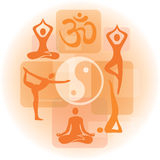 Collage of yoga icons Royalty Free Stock Photography