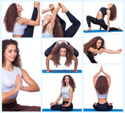 Collage of young beautiful fitness girl doing yoga. Exercise isolated on white stock image